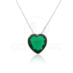 Pingente Coração O Outro Lado do Paraíso Verde Esmeralda em Prata 925