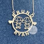Colar Mandala Personalizada Externa Desenho Duplo em Prata 925