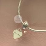 Berloque Coração Personalizado Nascimento em Prata 925