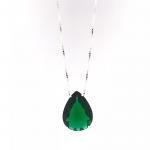 Colar com Pedra Gota Verde Esmeralda em Prata 925