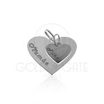 Pingente Coração Mamãe e Filho Personalizado  em Prata 925
