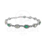 Pulseira Pedra Verde e Cristal em Prata 925 PUL04