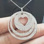 Pingente Personalizado 3 Elos com Coração em Prata 925