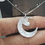 Pingente Lua Personalizada com Coração em Prata 925