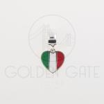 Berloque Bandeira Itália em Prata 925