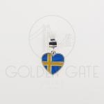 Berloque Bandeira Suécia em Prata 925