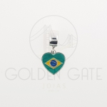Berloque Bandeira Brasil em Prata 925
