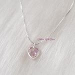 Colar Ponto de Luz Coração Rosa em Prata 925