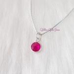 Colar Ponto de Luz Redondo Rosa em Prata 925