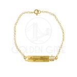 Pulseira Chapinha Infantil Coroa Personalizada em Prata 925 Banhada a ouro 18k