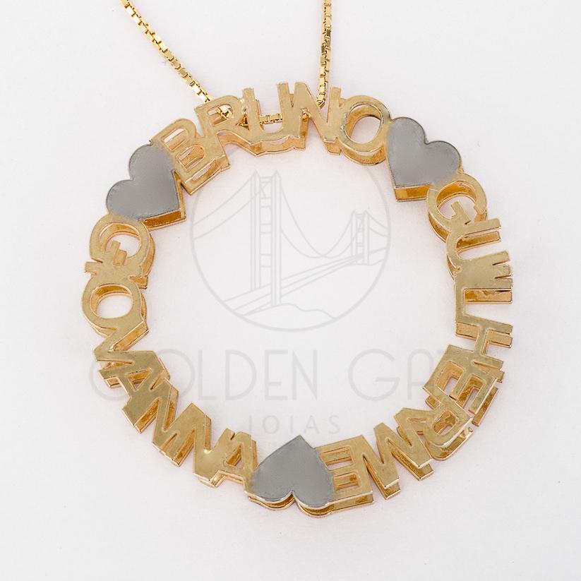 735f8990ed9a0 Colar Mandala Nome De Prata Com Banho De Ouro 18K