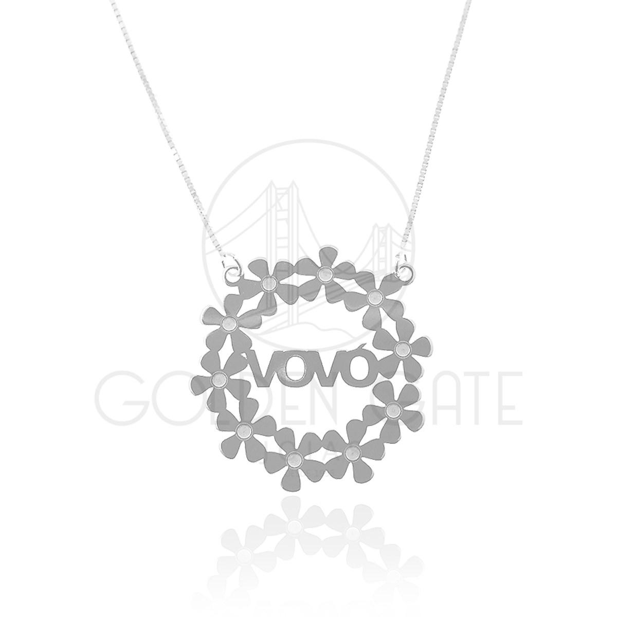 Colar Mandala de Flores com Nome em Prata 925   Golden Gate Joias 929eed668b