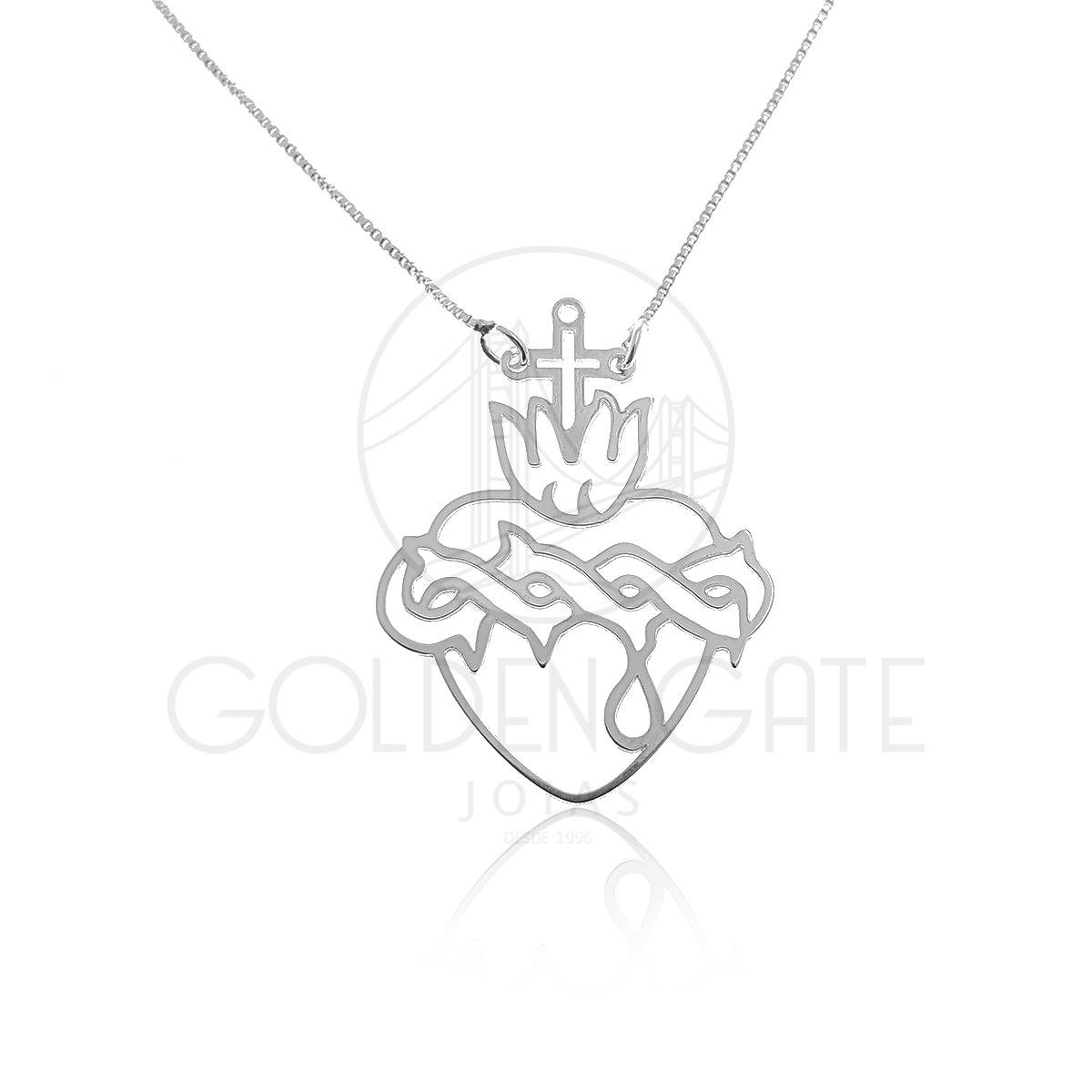 5523a1eedd8 Colar com Pingente Sagrado Coração em Prata 925